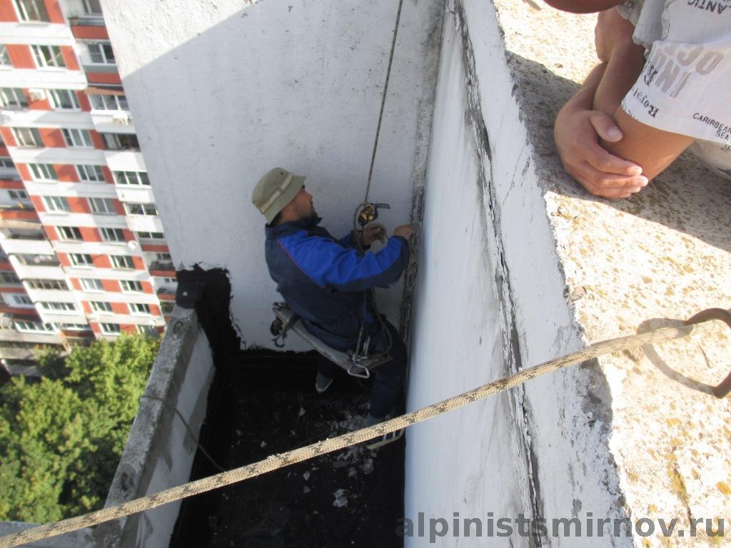 Герметизация балкона на последнем этаже. 11 августа 2013 год.